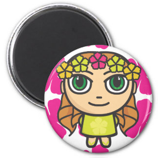 Hula Girl with Pink Background Magnet