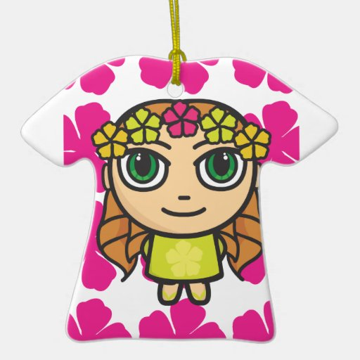 Hula Girl with Pink Background Ornament