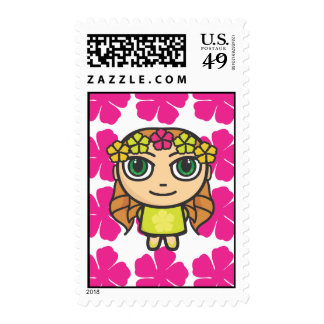 Hula Girl with Pink Background Postage