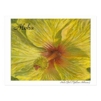 Hula Girl (Yellow Hibiscus) Postcard