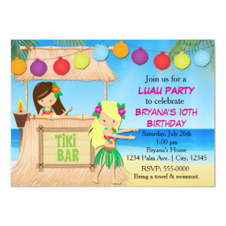 Hula girls beach tiki birthday party invitation