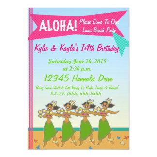 Hula Girls Retro Luau Party - 5x7 Paper Invitation Card