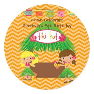 kidsgalore Hula Girls Tiki Hut Round Luau Birthday Invitation