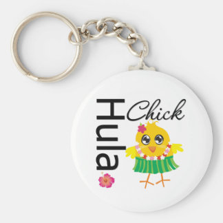 Hula Hawaii Chick Basic Round Button Keychain
