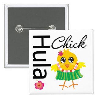 Hula Hawaii Chick Pinback Button