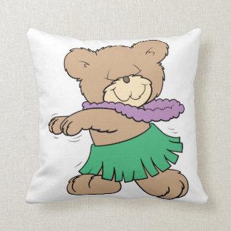 hula hawaii vacation cute teddy bear design throw pillow