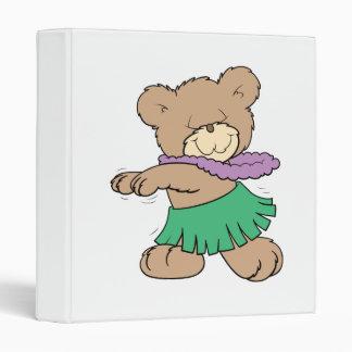 hula hawaiian vacation cute teddy bear design binder
