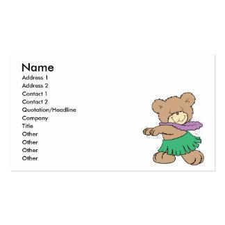 hula hawaiian vacation cute teddy bear design business cards