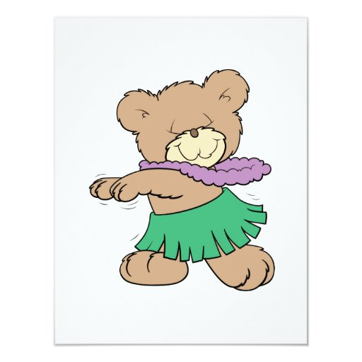 hula hawaiian vacation cute teddy bear design 4.25x5.5 paper invitation card