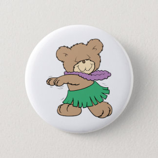 hula hawaiian vacation cute teddy bear design pinback button