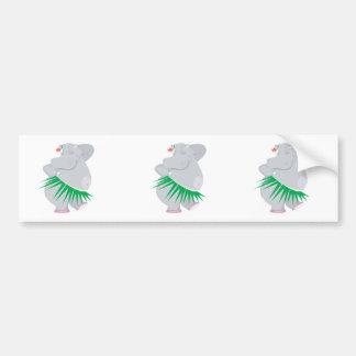 hula hippo bumper sticker