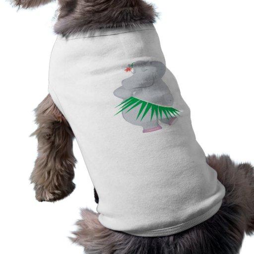 hula hippo doggie tshirt