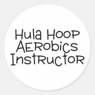 Hula Hoop Aerobics Instructor Classic Round Sticker