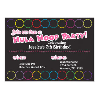Hula Hoop Birthday Party Information 5x7 Paper Invitation Card