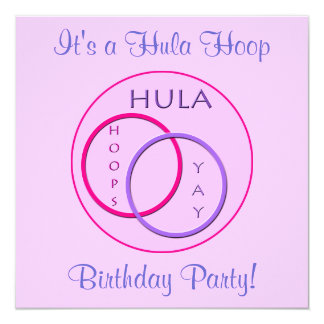 Hula Hoop Bright Pink Purple Kids Birthday Party Card
