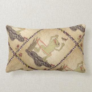 """Hula Hoop Frog and Cricket"""" Lumbar Pillow"""