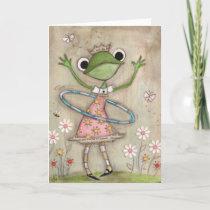 Hula Hoop Frog (version 2) - Birthday Card