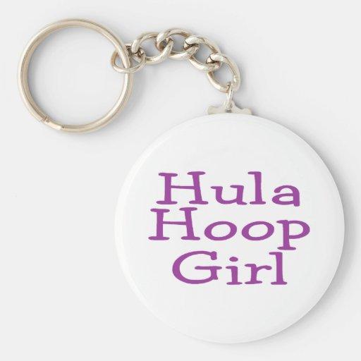 Hula Hoop Girl Basic Round Button Keychain
