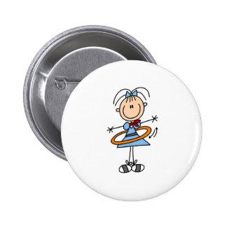 Hula Hoop Girl Button