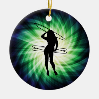 Hula Hoop Girl; Cool Double-Sided Ceramic Round Christmas Ornament