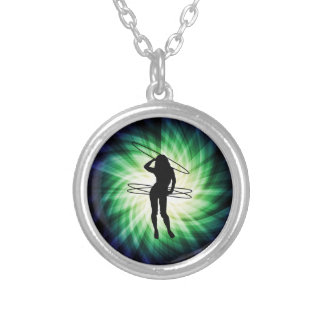 Hula Hoop Girl; Cool Round Pendant Necklace
