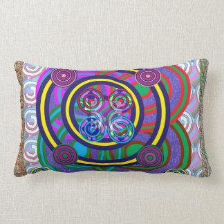 Hula Hoop Girls Game Round Circle Design Lumbar Pillow