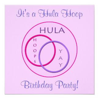 Hula Hoop Pink Purple Kids Birthday Party Card