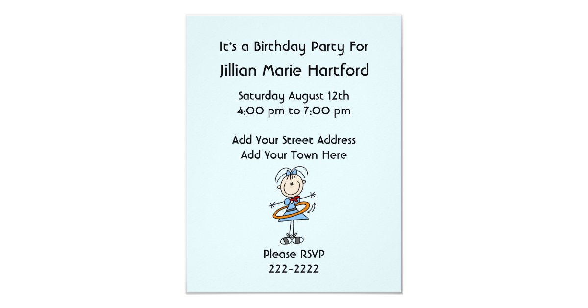 Stick Figure Wedding Invitations: Hula Hoop Stick Figure Girl Birthday Invites
