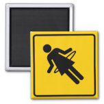 Hula Hoop Zone Highway Sign 2 Inch Square Magnet
