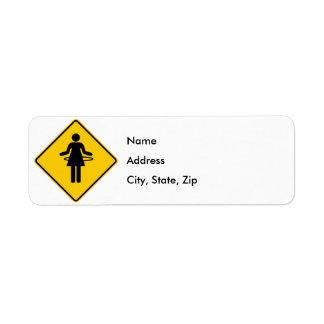 Hula Hoop Zone Highway Sign Return Address Label