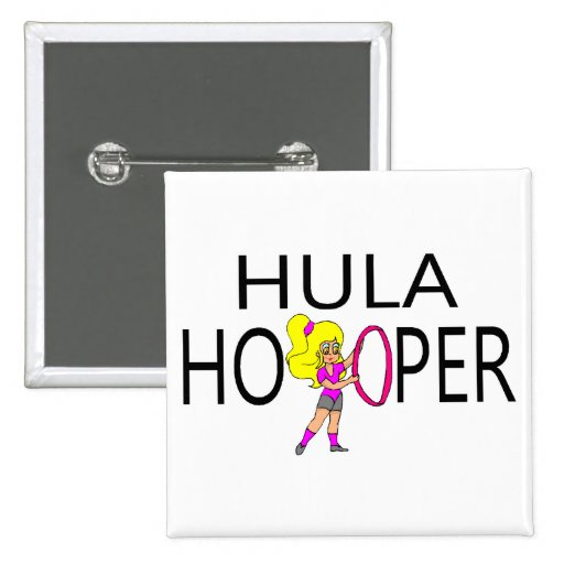 Hula Hooper Girl 2 Inch Square Button