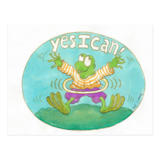 "hula hooping frog knows it by heart ""YES I CAN!"" Postcard"