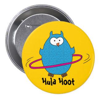 Hula Hoot Owl 3 Inch Round Button
