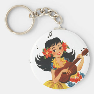 Hula Hula Girl Basic Round Button Keychain