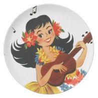 Hula Hula Girl Dinner Plates