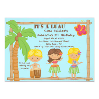 Hula Kids Luau Birthday Invitation