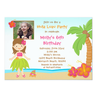 Hula Luau Birthday Party Invitation
