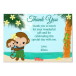 "Hula Monkey Baby Shower Thank You BOY 3.5""x 5"" 3.5x5 Paper Invitation Card"