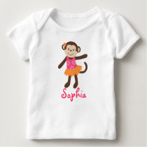 Hula Monkey Girls Baby T-Shirt