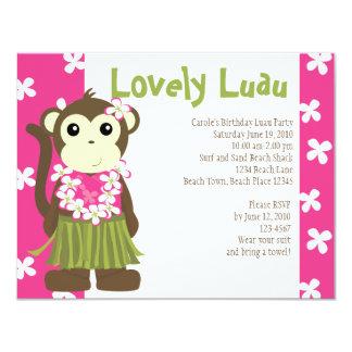 "Hula Monkey 4.25"" X 5.5"" Invitation Card"