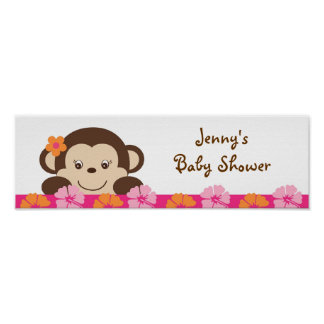 Hula Monkey Luau Baby Shower Banner Sign Posters