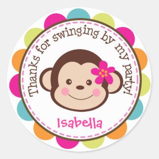 Hula Monkey Luau Birthday Party Favor Stickers