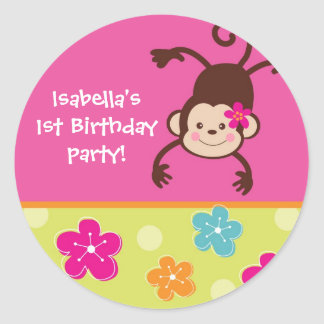 Hula Monkey Luau Bithday Party Favor Stickers