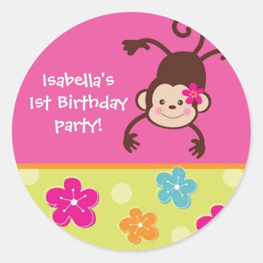 Hula Monkey Luau Bithday Party Favor Stickers
