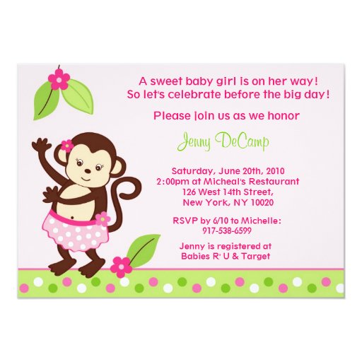 Hula Monkey Luau Custom Baby Shower Invitations