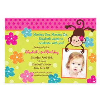 Hula Monkey Luau Photo Birthday Party Invitations