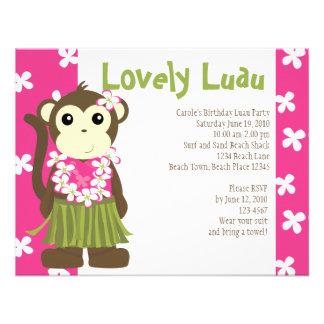 Hula Monkey Personalized Invites
