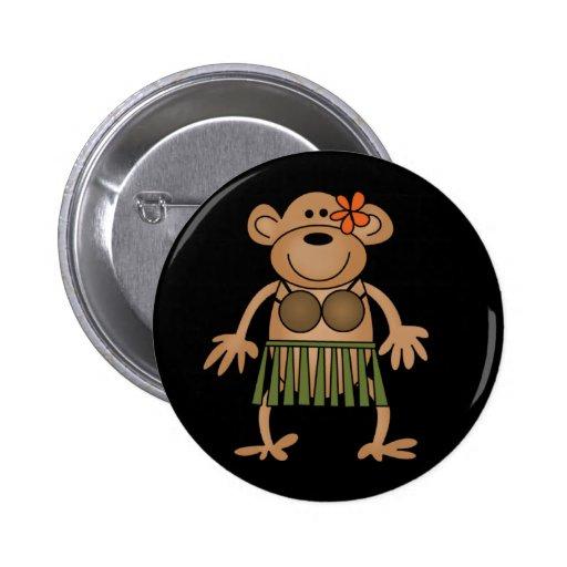 Hula Monkey Pinback Buttons