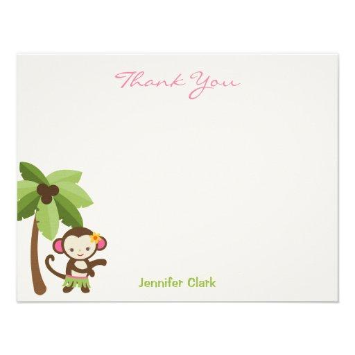 Hula Monkey Thank You Card Invitations