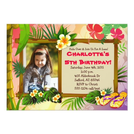 hula over hawaiian tropical photo invitations zazzle com